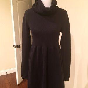Vince. Wool Sweater Dress. Black. Large